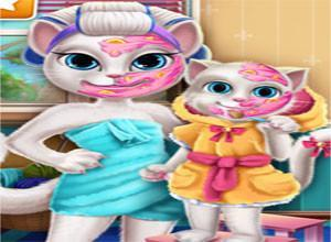 لعبة تنظيف بشرة الام و بنتها