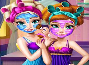 لعبة تنظيف بشرة ملكة الثلج و ابنتها